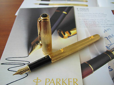 Parker Sonnet Gold Lustre 18kt Au Medium nib Fountain pen Mint