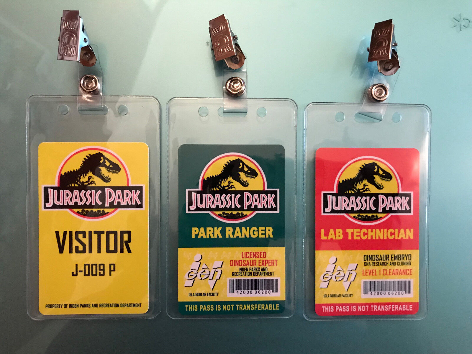 Купить 3x Jurassic Park Set Prop ID Badge: Lab Technician - Visitor Pass - Park Ranger