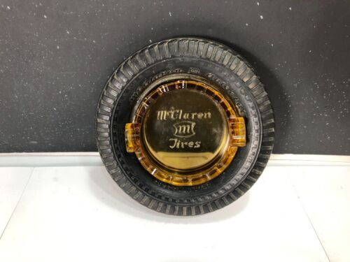 ANTIQUE McCLAREN AUTOCRATE TIRE AMBER GLASS ASHTRAY
