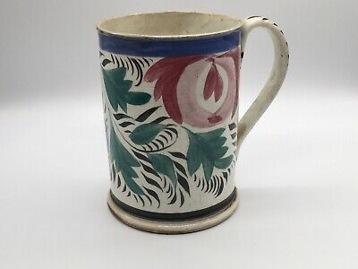 Staffordshire Pearlware Floral Tankard With Adams Rose And Vines Ca. 1820