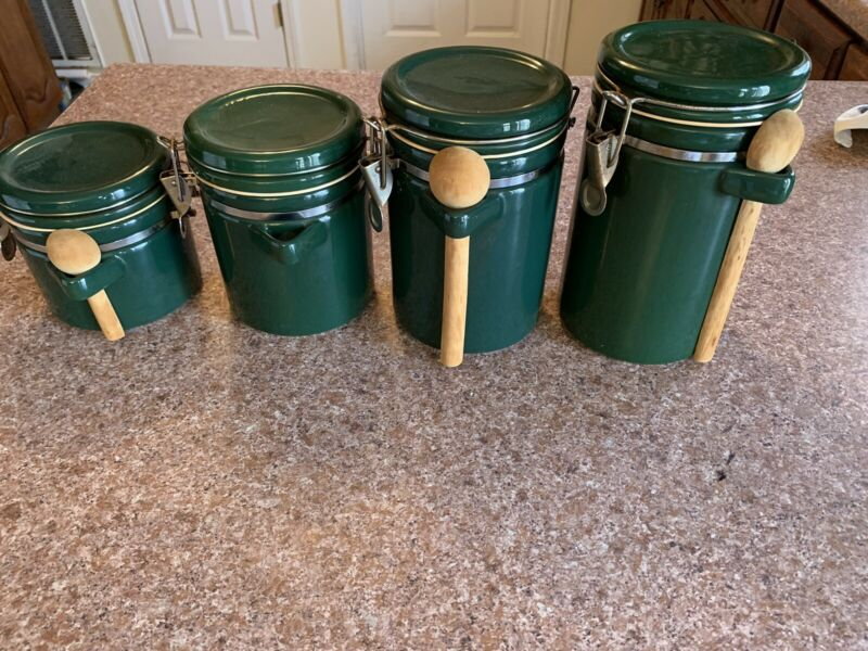 4 Pc's vintage Green Ceramics Canster Set