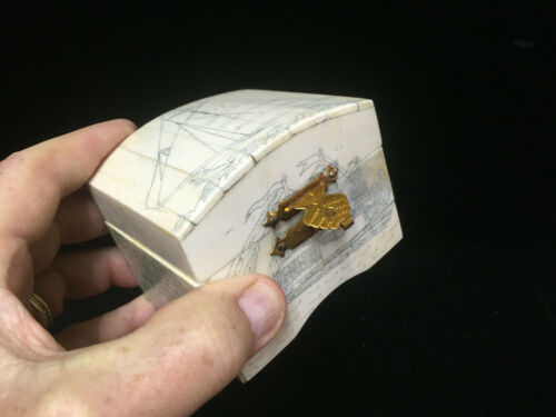 Unusual Domed Trinket Box - Tiled Bone on Wood with Simulated Scrimshaw Ships