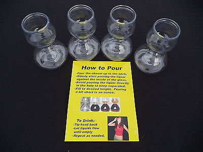 4 PLASTIC QUAFFER DOUBLE BUBBLE LAYERED JIGGER SHOT GLASSES JAGER BOMB (Plastic Jigger)