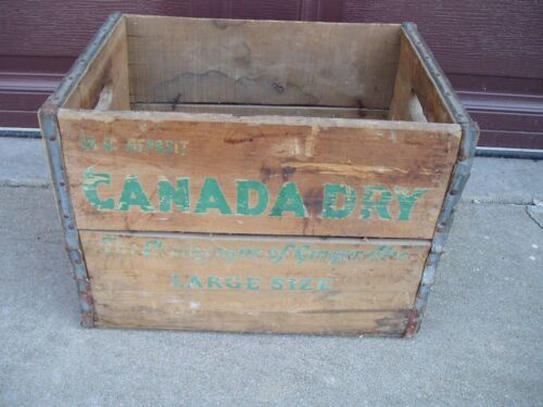Vintage Canada Dry Ginger Ale Wooden Crate Shipping Box 10c Deposit