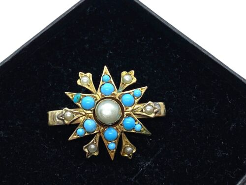 Antique Petite Victorian Pinchbeck Natural Seed Pearls & Turquoise Star Brooch