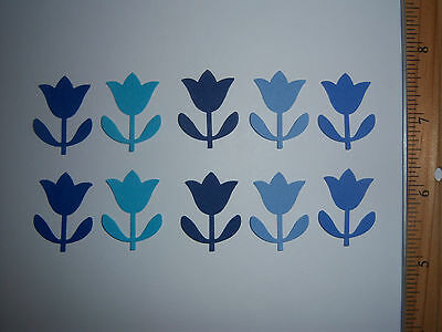 80 Martha Stewart Tulip Paper Die Cuts Punches in Blues great for Easter or baby