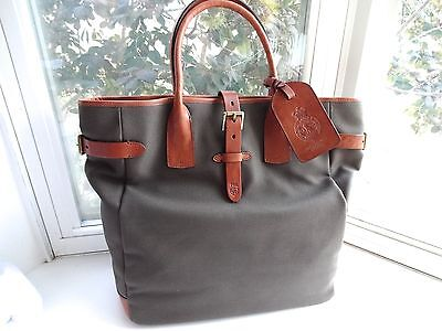 New Ralph Lauren Polo Collection Olive Green Canvas & Leather Oversized Tote Bag