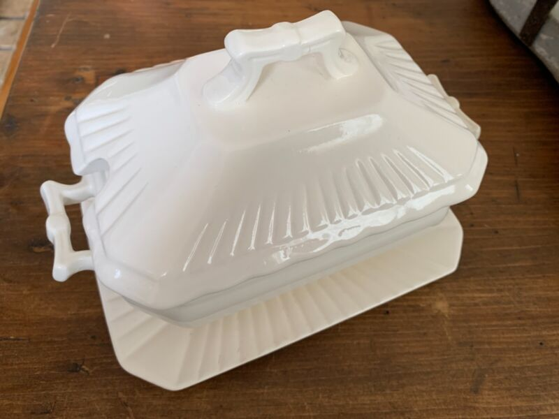 Small 3 Piece Tureen, White with Lid & Underplate, Farmhouse Decor