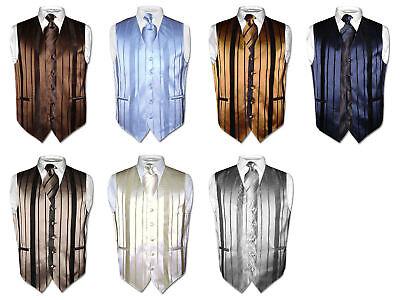 Men's Dress Vest & NeckTIE Solid Color Woven Striped Design