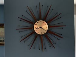 Mid-Century Modern Starburst Atomic Wall Clock Westclox Nocord Wood Sunburst