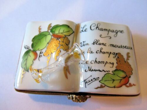 Peint Main Limoges Trinket- Book About Champagne