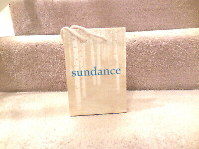 SUNDANCE BOUTIQUE SMALL GIFT BAG EMPTY TURQUOISE & BEIGE TREE PRINT 8