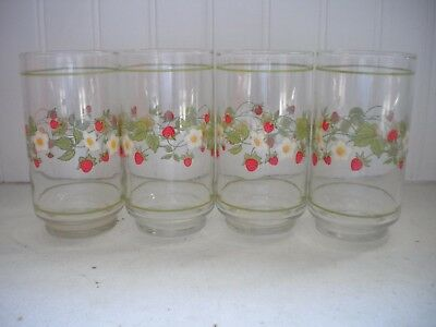 Corning Ware Corelle Strawberry Sundae Glass Tumblers 5""