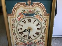 VINTAGE SAMPLER FRUIT CROSS-STITCH ELECTRIC WALL CLOCK W/ROMAN NUMBERS WORKING.