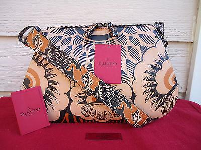 NEW $3695 Valentino Covered Floral Print Leather Hobo Shoulder Black Brown Beige