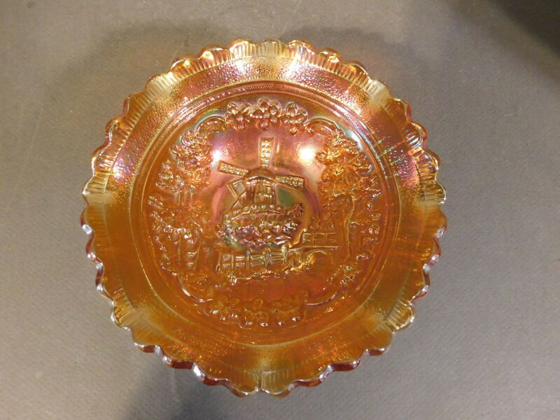 IMPERIAL WINDMILL MEDALLION SCALLOPED EDGE MARIGOLD CARNIVAL GLASS SAUCE DISH 5""