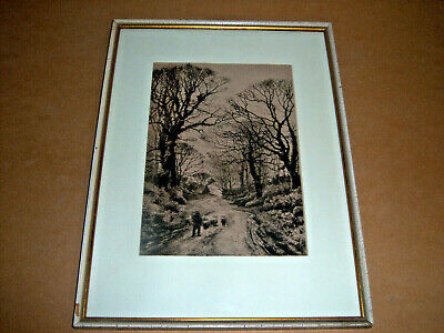 Antique Sepia Tone Engraving Shepherd on Country Road Framed with Glass (Country Road Glasses Frames)