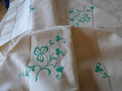 UNUSED VINTAGE EMBROIDERED IRISH LINEN TABLECLOTH - SHAMROCKS - ST. PATRICKS DAY