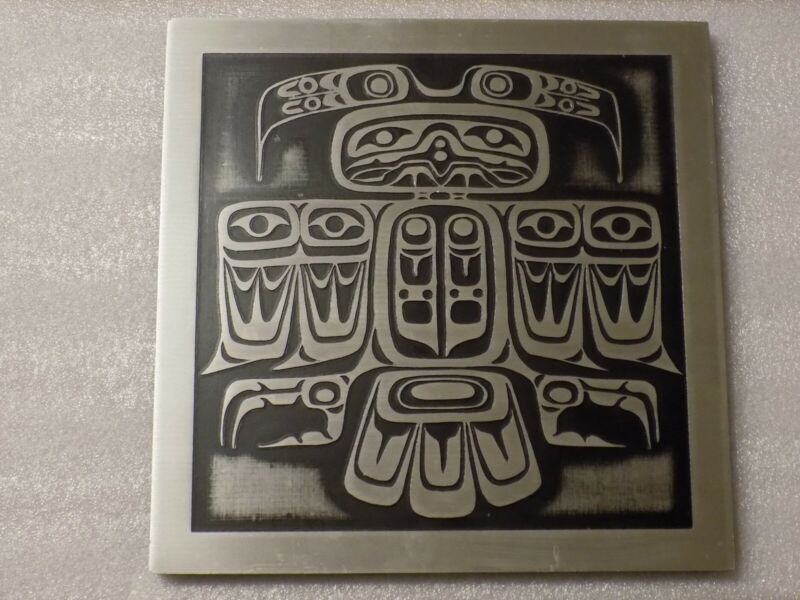 "Vintage Tribal Thunderbird Aluminum Etching Picture Wall Plaque Art 8.5"" x 8.5"""