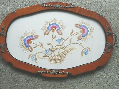 Vintage Twin Handled Tray Embroidered under glass Flowers  18