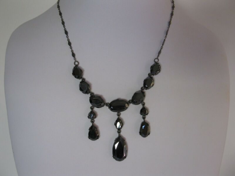 Antique Victorian Sterling Silver Hematite Mourning Necklace