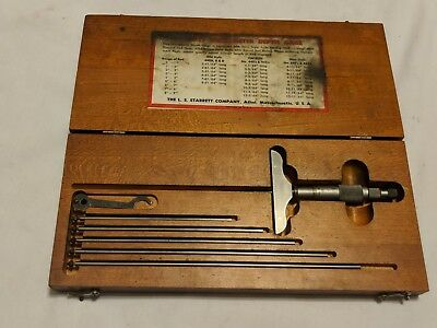 Starrett Depth Micrometer 445 Woriginal Wood Case Gauge Tool Set