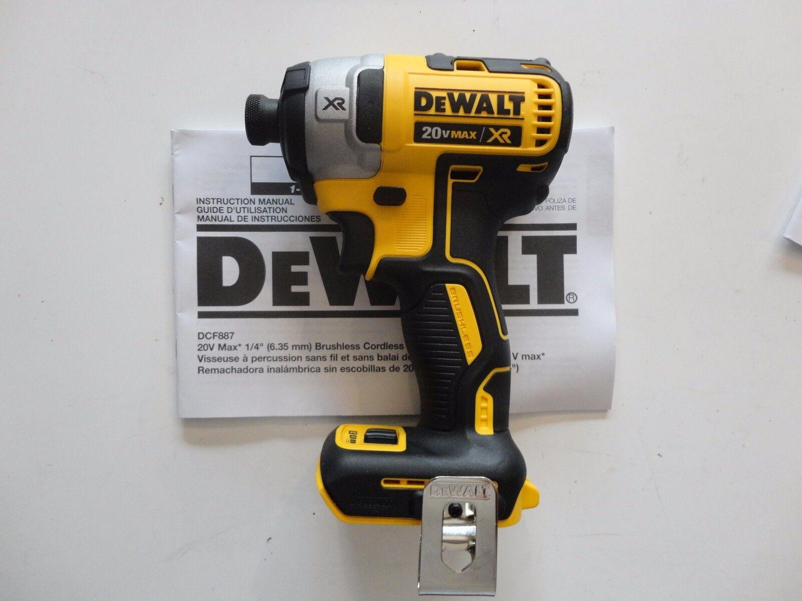 "DEWALT DCF887 20V 20 Volt 1/4"" 3 Speed lithium Ion Impact Dr"