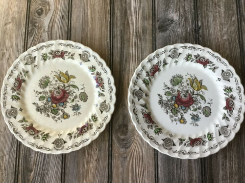 """Lot of 2 Myotts Bouquet By Staffordshire 10"""" Dinner Plates"""