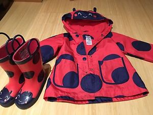 2T Carters ladybug rain jacket and size 7 boots