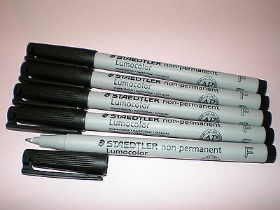 5x STAEDTLER Folienstift Lumocolor F non-permanent 316-9 schwarz OHP Pen Marker