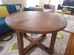 Dining table round solid Acacia  timber brand new Roxburgh Park Hume Area Preview