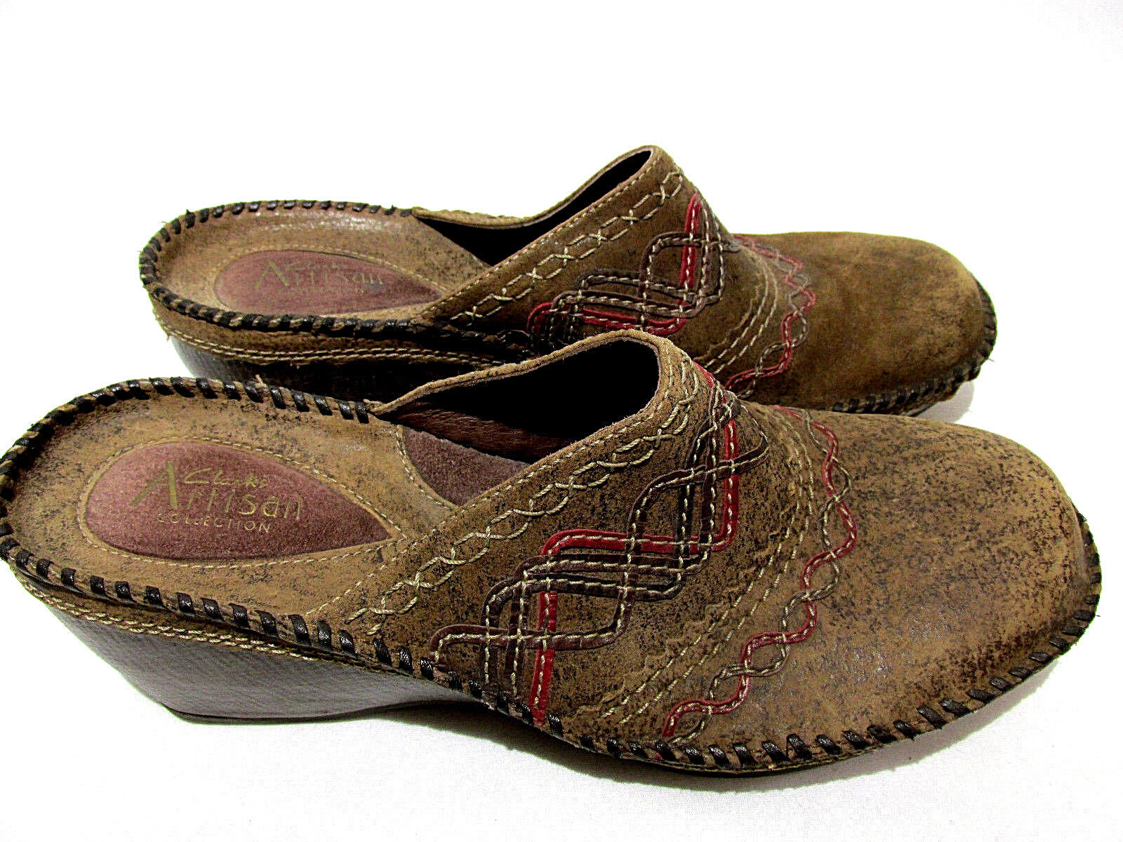 Details about Clarks ARTISAN Collection Womens Size 9M Brown Leather Mule Wedge Clogs