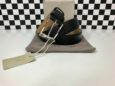 Brioni Belt Black Calf Leather Size 105 Box Dust Bag 1.3' Classic Simply (Best Mens Black Leather Belt)