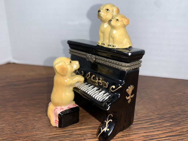 Golden Retriever Playing The Piano With Pups On Top Trinket Box