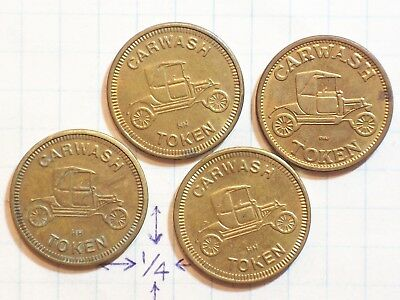 TOKENS CARWASH TOKEN HH NO CASH VALUE BRASS LOT 4 ( MODEL T, TIN LIZZY ? )