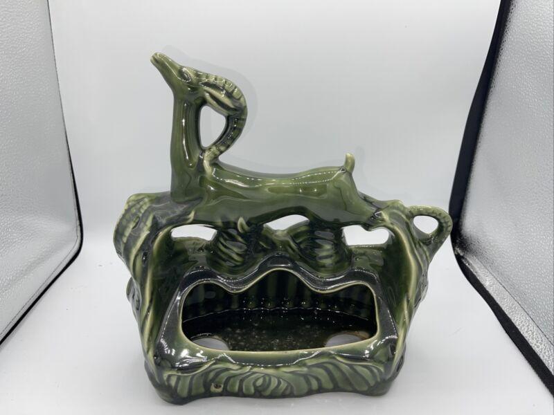 Vintage Royal Haeger TV Planter Lamp Deer Gazelle  Mid Century Ceramic Green