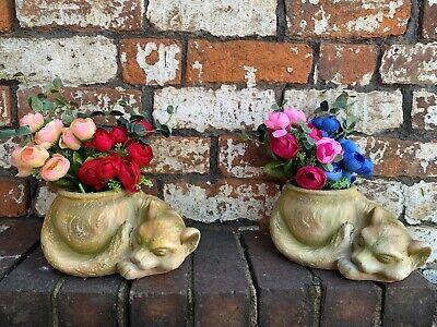 Two Cats Flower Pot Indoor Outdoor Animal Sculpture Ornamenta decor window -