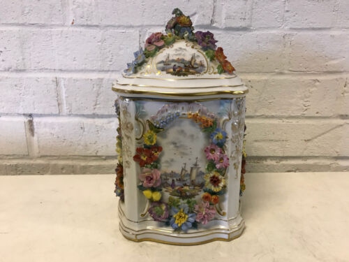 Antique German Carl Thieme Dresden Porcelain Large Jar / Box Painted Ship Floral