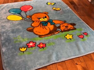 Blue Blanket with Teddy Bear for baby or little kid