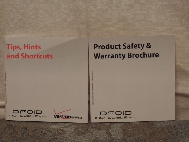 Droid Incredible Tips, Hints & Shortcuts, and Product Safety Brochure