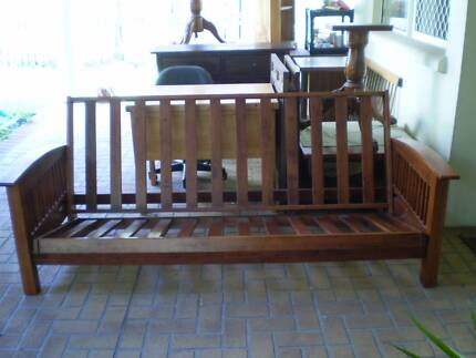 SOLID TIMBER FUTON LOUNGE/DOUBLE BED, VGC Greenslopes Brisbane South West Preview