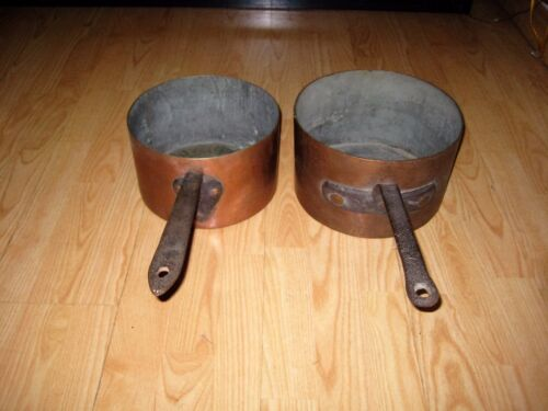 "Antique 10"" & 9"" Copper Saucepan Pan Pot Iron Handle PAIR"