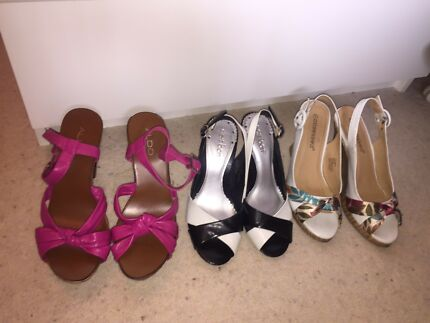 Heels pink, black and white, white wedges size 7