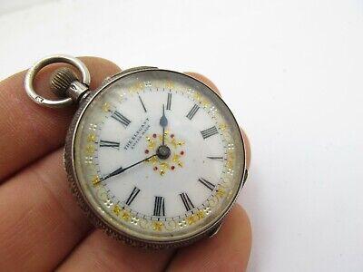 Vintage Antique Sterling Silver Key Wind Open Face Pocket Fob Watch The Elegant