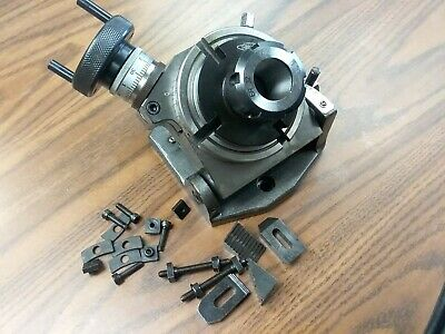 4 Precision Tilting Rotary Table W. Er32 Collet Chuck Adapter Ttsk-100er32