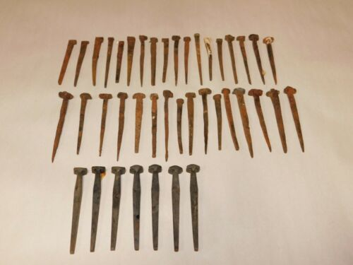 Lot of 41 Antique Primitive Hand Forged Salvaged Nails Mixed Sizes