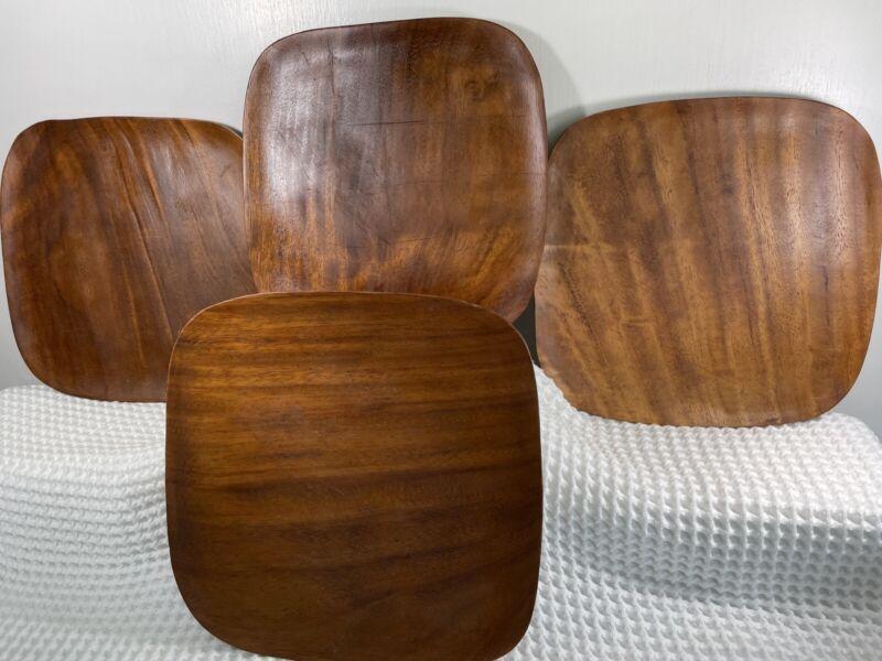 """Set of 4 Monkey Pod Wood SZ: 12"""" X 12"""" X 3/4"""" Plates/Trays MCM Decor Design VTG"""