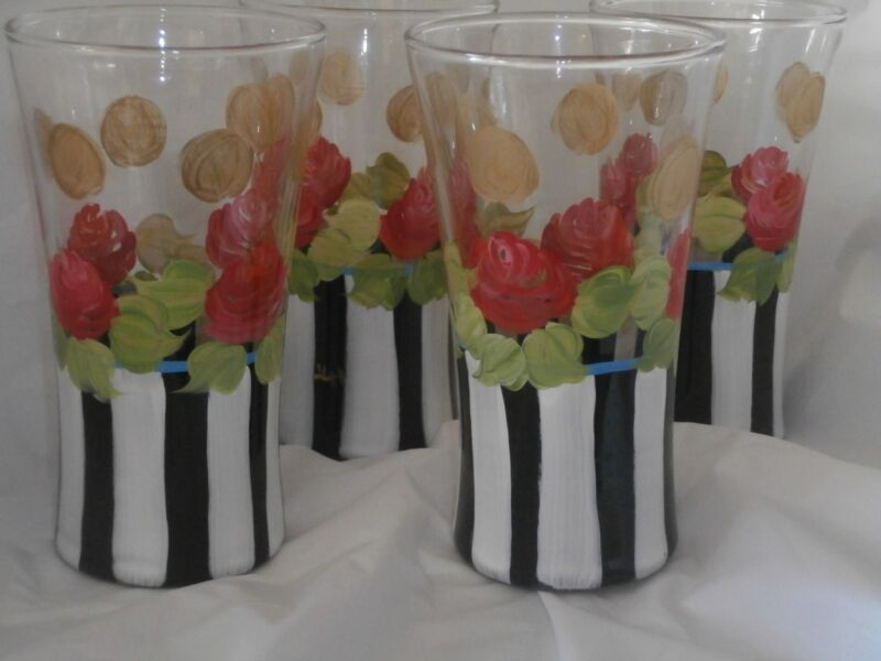 HAND PAINTED STRIPES, RED ORANGE ROSES,GOLD HEIRLOOM TUMBLER/COOLERS SET OF 4/