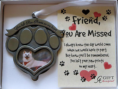 You Left Paw Prints On My Heart Photo Ornament Dog Pet Christmas Memorial New