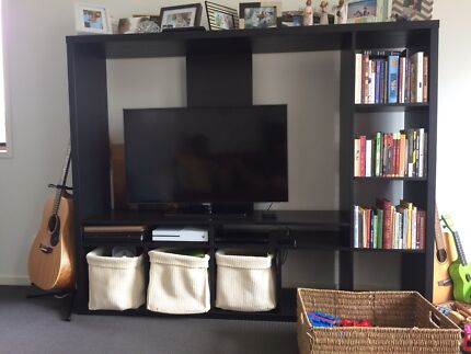 TV wall unit- pine with rosewood stain | Entertainment & TV Units ...